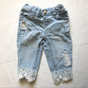 Distressed Lace Jeans for Baby Girl by Koala Kids